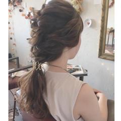 デート 簡単ヘアアレンジ セミロング 結婚式 ヘアスタイルや髪型の写真・画像
