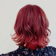 ナチュラル可愛い 可愛い 個性的 レッドカラー ヘアスタイルや髪型の写真・画像
