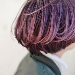 ボブ バイオレットアッシュ パープル ハイライト ヘアスタイルや髪型の写真・画像