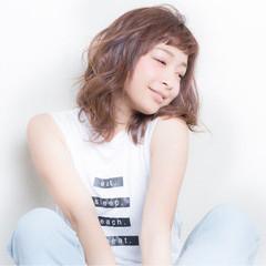 涼しげ ミディアム ショートバング 夏 ヘアスタイルや髪型の写真・画像