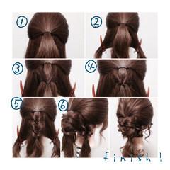 セミロング ダブルカラー 簡単ヘアアレンジ ショート ヘアスタイルや髪型の写真・画像