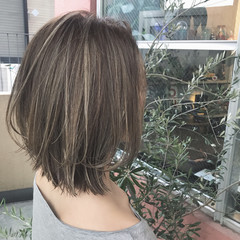 女子力 外国人風 ボブ ハイライト ヘアスタイルや髪型の写真・画像