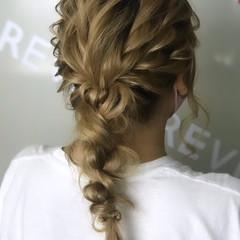 結婚式 編みおろし ヘアアレンジ 二次会 ヘアスタイルや髪型の写真・画像