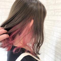 夏 ミディアム 涼しげ インナーカラー ヘアスタイルや髪型の写真・画像