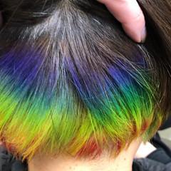 ブリーチカラー 派手髪 インナーカラー ボブ ヘアスタイルや髪型の写真・画像