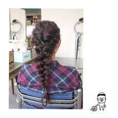ナチュラル ラベンダーピンク ヘアアレンジ 編み込み ヘアスタイルや髪型の写真・画像