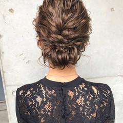 結婚式 大人かわいい ヘアアレンジ ミディアム ヘアスタイルや髪型の写真・画像