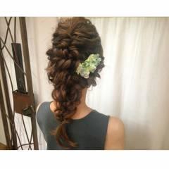 ナチュラル 編み込み 簡単ヘアアレンジ ショート ヘアスタイルや髪型の写真・画像