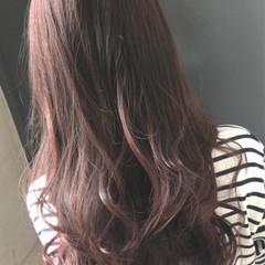 ラベンダーピンク ゆるふわ 透明感 セミロング ヘアスタイルや髪型の写真・画像