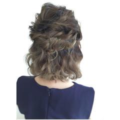 ヘアアレンジ ボブ ハーフアップ 夏 ヘアスタイルや髪型の写真・画像