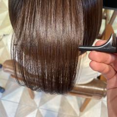 ツヤ髪 ボブ 髪質改善トリートメント 内巻き ヘアスタイルや髪型の写真・画像