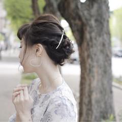 ヘアピン ヘアアクセ ミディアム 簡単ヘアアレンジ ヘアスタイルや髪型の写真・画像
