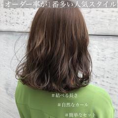 パーマ ミディアム アンニュイほつれヘア ナチュラル ヘアスタイルや髪型の写真・画像
