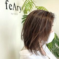 ナチュラル 白髪染め 3Dハイライト ミディアム ヘアスタイルや髪型の写真・画像
