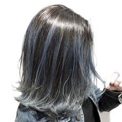 外国人風カラー ブルー デニム バレイヤージュ ヘアスタイルや髪型の写真・画像