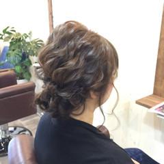 ヘアアレンジ 結婚式 ミディアム ふわふわ ヘアスタイルや髪型の写真・画像