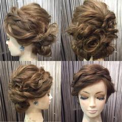 アップスタイル 振袖 編み込み くるりんぱ ヘアスタイルや髪型の写真・画像