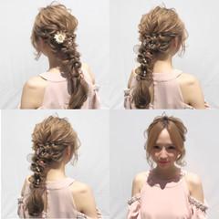 大人かわいい 上品 編み込み ボブ ヘアスタイルや髪型の写真・画像