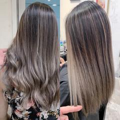 ブロンドカラー セミロング ヘアアレンジ ベージュ ヘアスタイルや髪型の写真・画像