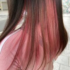ブリーチ ナチュラル セミロング ピンクパープル ヘアスタイルや髪型の写真・画像