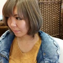 グラデーションカラー ボブ ストリート ストレート ヘアスタイルや髪型の写真・画像