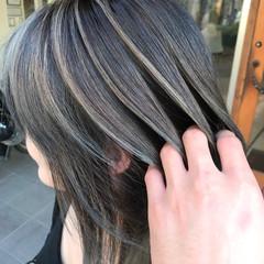 バレイヤージュ ミディアム 外国人風 ハイライト ヘアスタイルや髪型の写真・画像