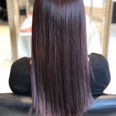 暗髪 冬カラー バイオレット ロング ヘアスタイルや髪型の写真・画像