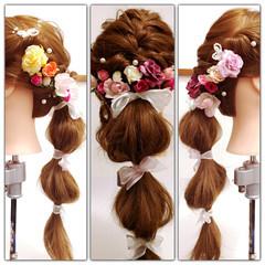 ねじり くるりんぱ 編み込み かわいい ヘアスタイルや髪型の写真・画像