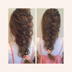 ロング 編み込み 結婚式 大人かわいい ヘアスタイルや髪型の写真・画像