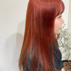 ブリーチ ブリーチオンカラー オレンジ ブリーチカラー ヘアスタイルや髪型の写真・画像