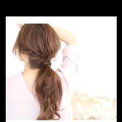 ポニーテール 大人かわいい ゆるふわ 編み込み ヘアスタイルや髪型の写真・画像