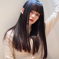 暗髪 暗髪女子 ナチュラル セミロング ヘアスタイルや髪型の写真・画像