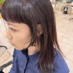 前髪 ショートバング セミロング フェミニン ヘアスタイルや髪型の写真・画像