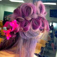 ヘアアレンジ グラデーションカラー パープル ピンク ヘアスタイルや髪型の写真・画像