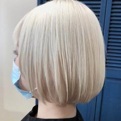 ブリーチオンカラー ホワイトブリーチ ストリート ボブ ヘアスタイルや髪型の写真・画像