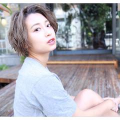 外国人風 ショート 前髪あり ヘアアレンジ ヘアスタイルや髪型の写真・画像