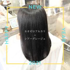 髪質改善 前髪 ストレート ナチュラル ヘアスタイルや髪型の写真・画像