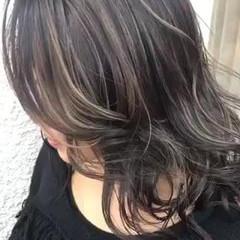 コントラストハイライト 地毛ハイライト ミディアム ストリート ヘアスタイルや髪型の写真・画像