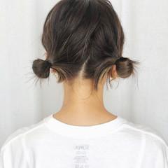 グラデーションカラー セルフヘアアレンジ インナーカラー 簡単ヘアアレンジ ヘアスタイルや髪型の写真・画像