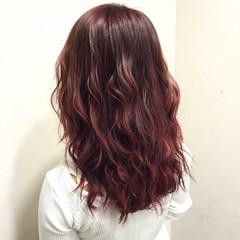 ハイライト グラデーションカラー セミロング ガーリー ヘアスタイルや髪型の写真・画像