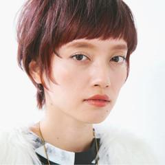 ピンク イルミナカラー ハイライト レッド ヘアスタイルや髪型の写真・画像