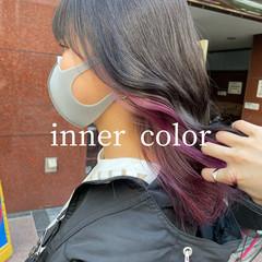 セミロング ラベンダーピンク ガーリー ピンクパープル ヘアスタイルや髪型の写真・画像