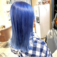 ブルー ロブ 切りっぱなし セミロング ヘアスタイルや髪型の写真・画像