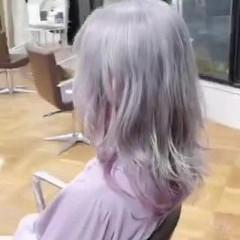 ブリーチ ハイトーン 派手髪 ミディアム ヘアスタイルや髪型の写真・画像