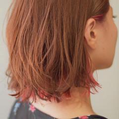 ボブ ミニボブ ナチュラル インナーカラー ヘアスタイルや髪型の写真・画像