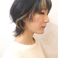 ベージュ ウルフカット ナチュラル インナーカラー ヘアスタイルや髪型の写真・画像