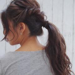 ヘアアレンジ ポニーテール 簡単ヘアアレンジ フェミニン ヘアスタイルや髪型の写真・画像