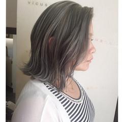 黒髪 外国人風 ミディアム グレージュ ヘアスタイルや髪型の写真・画像