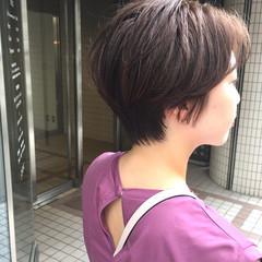 ショート 小顔ショート ショートバング ナチュラル ヘアスタイルや髪型の写真・画像
