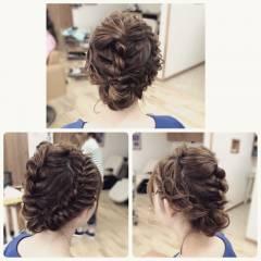 ヘアアレンジ ロープ編み ロング アップスタイル ヘアスタイルや髪型の写真・画像